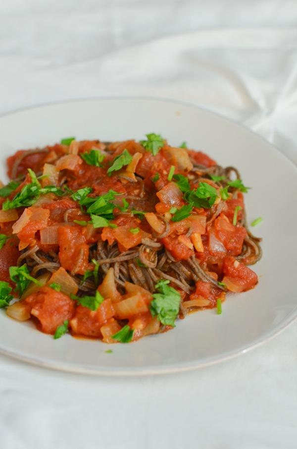 Easy Black Bean Pasta with Quick Tomato Sauce Recipe