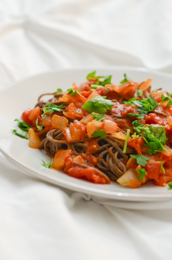 Easy Black Bean Pasta with Quick Tomato Sauce Recipe