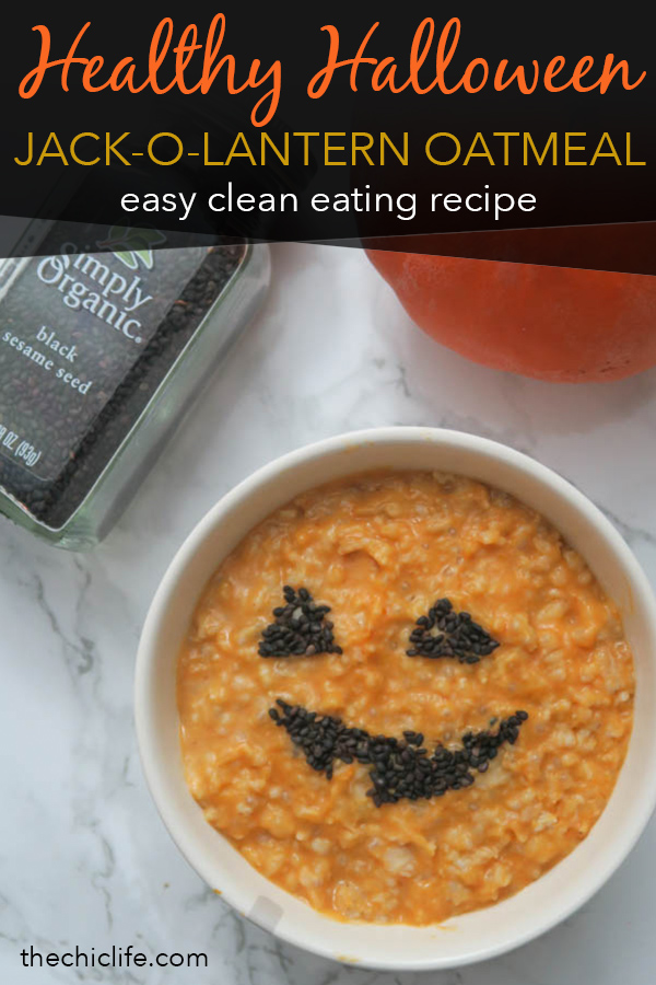 You'll love this healthy Halloween recipe for jack-o-lantern oatmeal with VIDEO. This clean eating recipe is for pumpkin oatmeal (sneak in a veggie serving!). Start your Halloween with this easy breakfast idea. Make microwave or stovetop oatmeal and then follow the DIY tutorial for the jack-o-lantern face. So easy and fun! #recipe #halloweenfood #halloween #healthyrecipe #cleaneating #holidayrecipe