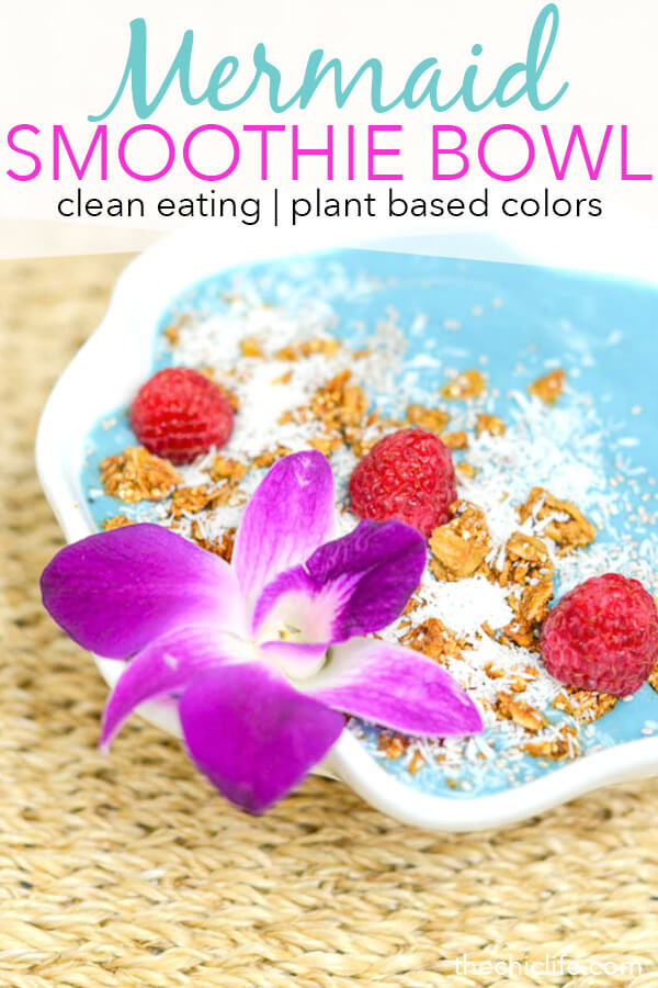 This beautiful blue smoothie is delicious and good for you! Click to get a video and recipe for how to make this Mermaid Smoothie Bowl - an easy clean eating breakfast or snack recipe perfect this summer #recipe #healthy #healthyrecipes #cleaneating #vegan #vegetarian #smoothie