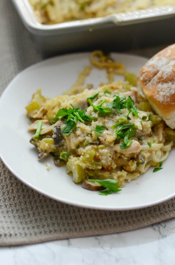 Try my lightened up Turkey Tetrazzini with your Thanksgiving leftovers. This fall recipe is easy and super delicious too. No gross canned soup. This is a clean eating version of a classic! Click for the recipe and a video. #fallfood #fallrecipe #recipe #healthy #healthyrecipes #healthyfood #cleaneating #recipe #realfood #thanksgivingleftovers