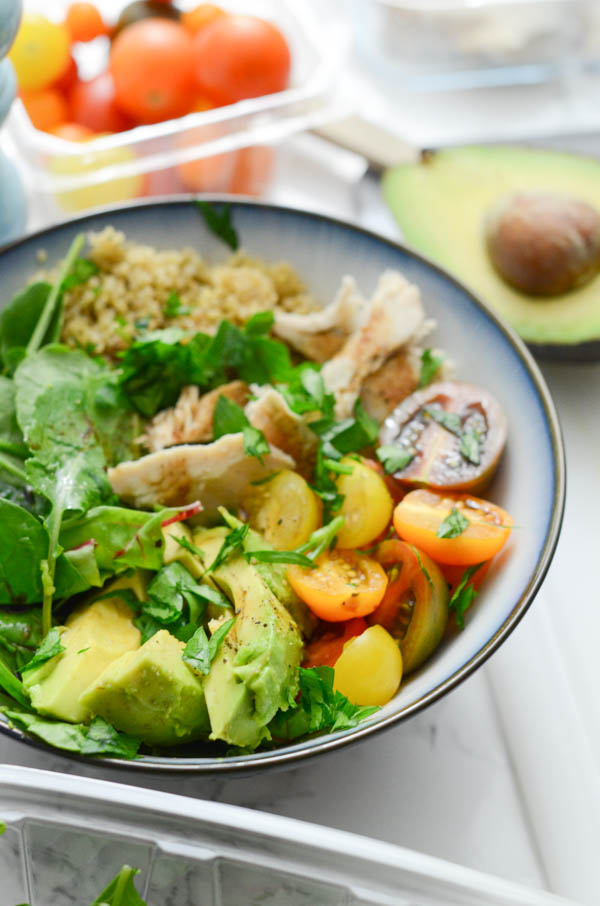 Pictured: Nourish Bowl with Quinoa and Turkey. Click for 3 Clean Eating Leftover Turkey Recipes for breakfast, lunch, and dinner. #recipe #healthy #healthyrecipes #healthyfood #cleaneating #recipe #realfood #thanksgivingleftovers #thanksgivingfood #christmasfood