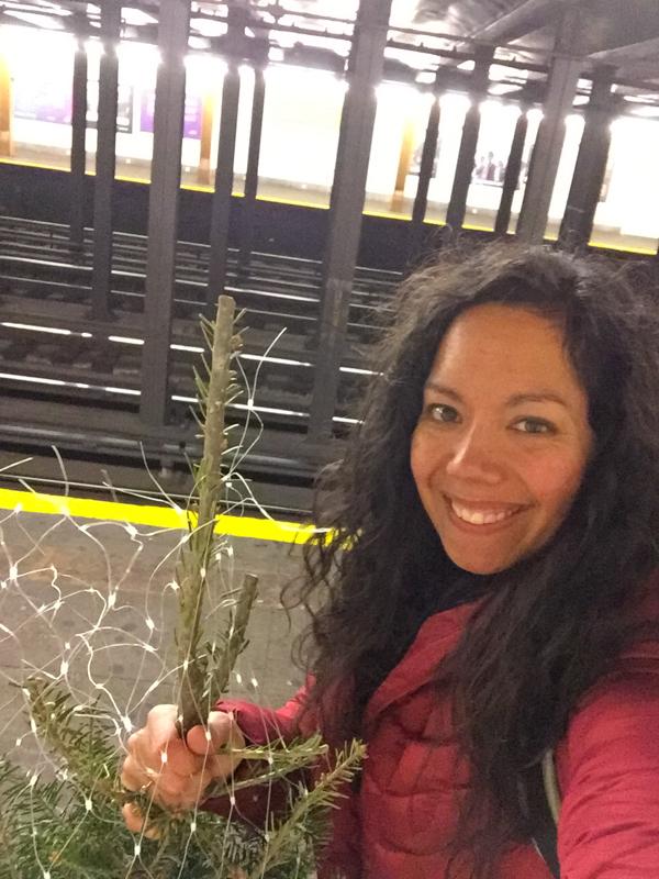 Christmas Tree on the NYC Subway