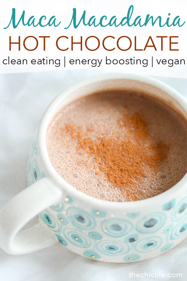 Energy boosting Maca Macadamia Hot Chocolate is the perfect dessert recipe to enjoy on a cool winter night. Cozy up next to the fire or your snuggliest blanket. This clean eating recipe is delicious #recipe #healthy #healthyrecipes #cleaneating #recipe #realfood #vegan #veganrecipe