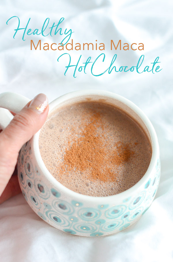 Try this healthy hot chocolate recipe this fall for a cozy, mood-lifting drink to snuggle with in front of the fire. This Healthy Macadamia Maca Hot Chocolate is a delicious clean eating recipe that you'll love! #fallfood #fall #fallrecipe #recipe #healthy #healthyrecipes #healthyfood #cleaneating #drink #realfood