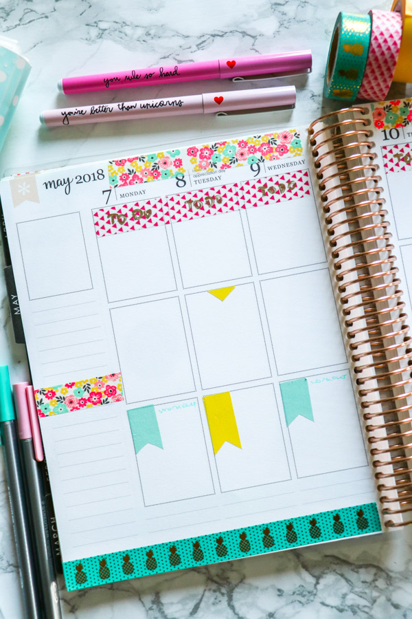 Spring Floral Plan with Me Washi Tape Only | Erin Condren Vertical Planner
