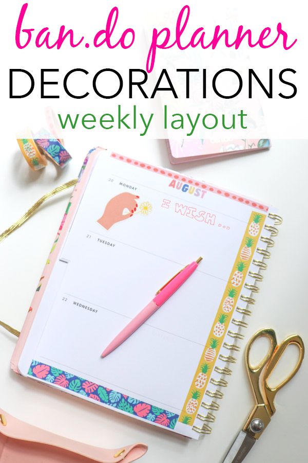 ban.do Planner Decorations: Week of August 20, 2018 | How to decorate your planner with washi tape | planner decoration ideas #planner #bando #bandoplanner #plannerdecorations #washitape