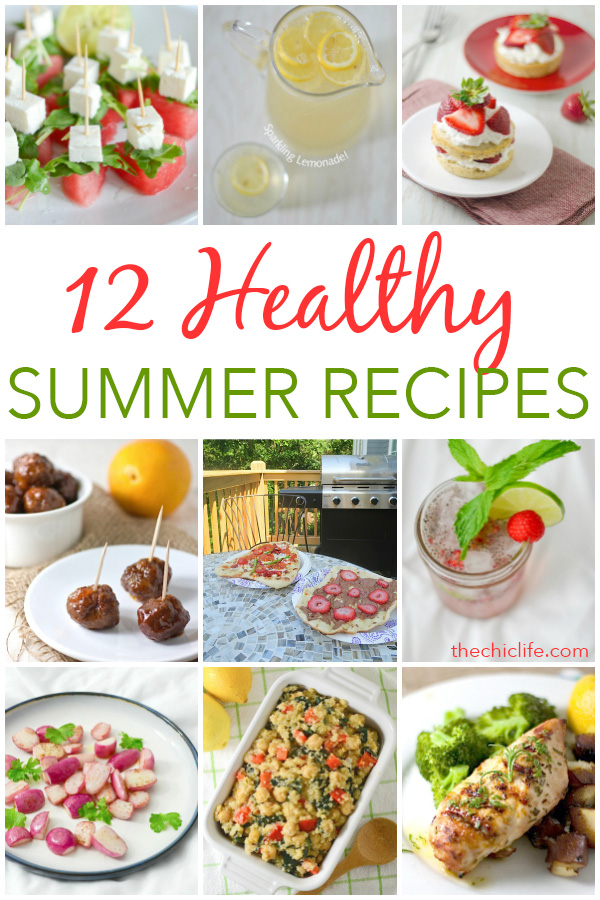 Here are 12 healthy summer recipes that are perfect for celebrating the Fourth of July, Labor Day or even just for entertaining friends and family to enjoy the last days of summer. Clean eating style, easy, from scratch, real food, really delicious - great for lunch, dinner with ideas for dessert and non-alcohol drinks / mocktails #recipe #healthy #healthyrecipes #healthyfood #cleaneating