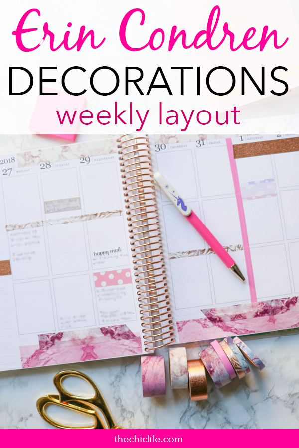 Click for details on these Erin Condren Planner Decorations: Week of August 27, 2018. This simple weekly layout idea features an almost marble washi tape only layout that is simple and clean. Great for beginners and new planners. And super affordable too! #erincondren #lifeplanner #planner #planning #erincondren #plannerdecorations #plannerideas