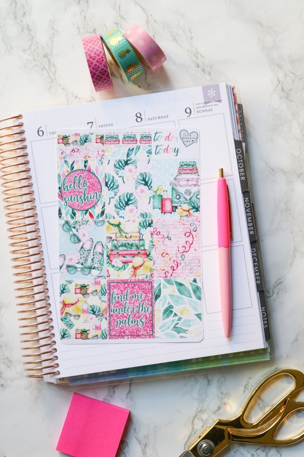 Click to see how I use this fun summer planner sticker kit in my Erin Condren LifePlanner weekly layout. Hint: It's nice and simple yet color look with plenty of space for writing with some stickers and lots of washi tape. Planner decorations are fun! #erincondren #lifeplanner #planner #planning #erincondren #plannerdecorations #plannerideas