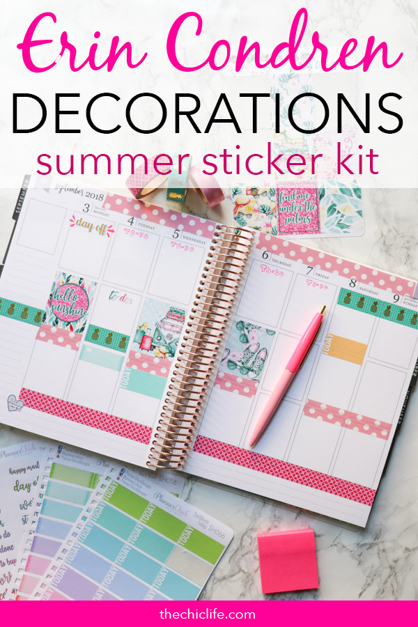 Summer fun in your planner! Click for details on these Erin Condren Planner Decorations: Week of September 3, 2018. This simple weekly layout idea features a fun Summer-themed planner sticker kit by It's Planning Time and plenty of washi tape. Pink and turquoise with pops of yellow. This layout is super colorful and playful. #erincondren #lifeplanner #planner #planning #erincondren #plannerdecorations #plannerideas