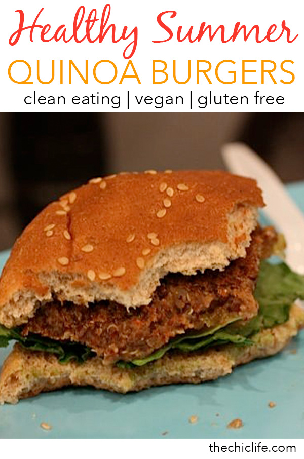 Vegan Southwestern Quinoa Burgers | Click for 11 more healthy summer recipes that are perfect for celebrating the Fourth of July, Labor Day or even just for entertaining friends and family to enjoy the last days of summer. Clean eating style, easy, from scratch, real food, really delicious - great for lunch, dinner with ideas for dessert and non-alcohol drinks / mocktails #recipe #healthy #healthyrecipes #healthyfood #cleaneating