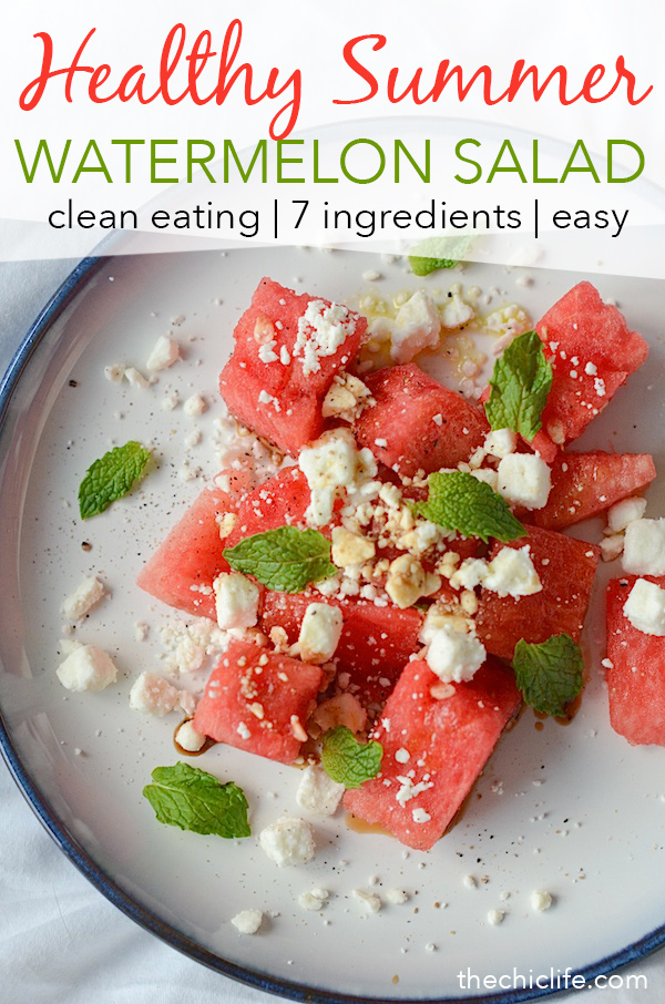 Watermelon Feta Mint Salad | Click for 11 more healthy summer recipes that are perfect for celebrating the Fourth of July, Labor Day or even just for entertaining friends and family to enjoy the last days of summer. Clean eating style, easy, from scratch, real food, really delicious - great for lunch, dinner with ideas for dessert and non-alcohol drinks / mocktails #recipe #healthy #healthyrecipes #healthyfood #cleaneating