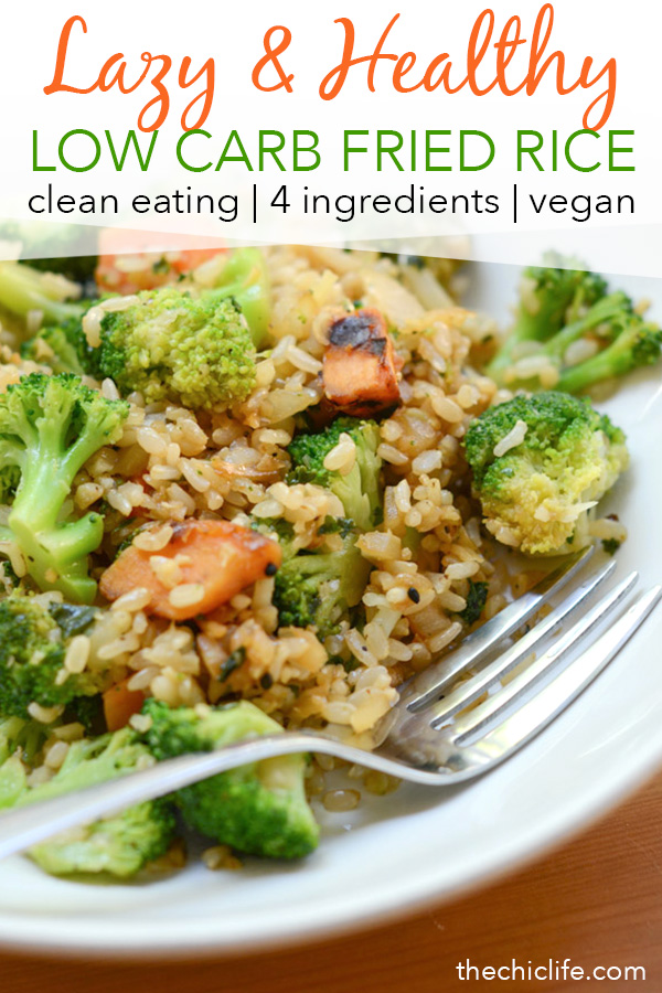 Have your cake and eat it too with this Lazy Low Carb Fried Rice Recipe (Still Made with Rice!). Cut the rice in half to reduce your carbs while also upping your veggie intake. Great for those days you're not getting your vegetable servings in earlier. ##recipe #healthy #healthyrecipes #healthyfood #cleaneating #recipe #realfood #vegan #veganrecipe