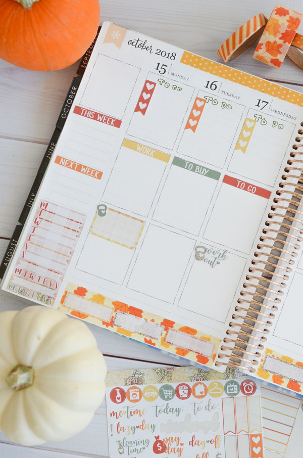 Decorate while still leaving space to write! Photos and video on how to use a fall sticker kit with washi tape in your Erin Condren LifePlanner vertical layout in this fall themed Plan with Me. #erincondren #lifeplanner #planner #planning #erincondren #plannerdecorations #plannerideas