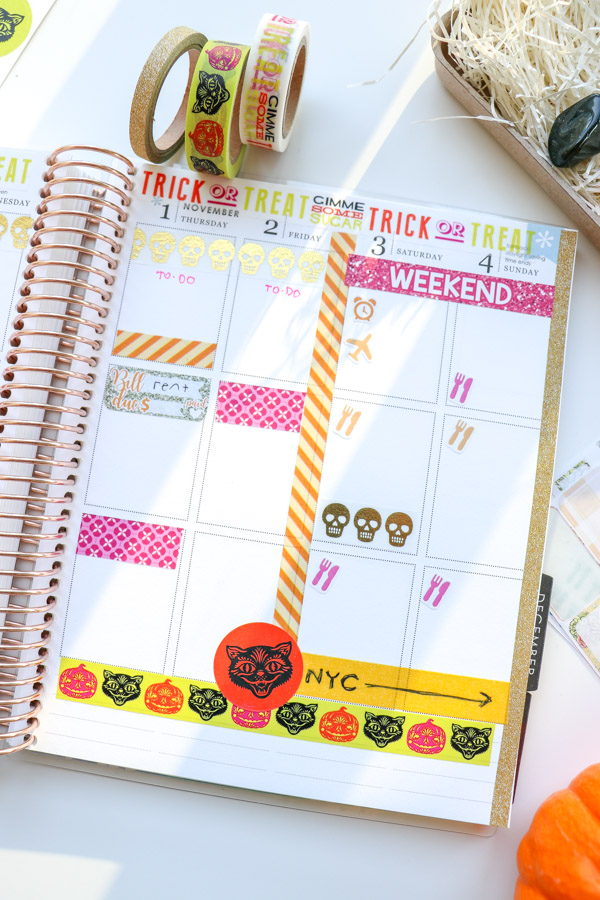Glam-o-ween! Here's a chic glam and pink Halloween look for your planner decorations. This look leaves space for writing while still being super colorful with a fun play on the traditional Halloween colors. Uses washi tape and stickers. #erincondren #lifeplanner #planner #planning #erincondren #plannerdecorations #plannerideas