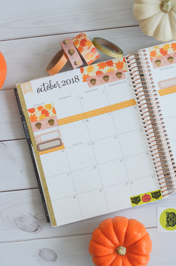 Here's an elegant fall theme for the monthly view of the Erin Condren LifePlanner for October 2018. With a mix of washi tape and stickers, this look leaves plenty of space for writing and planning in style #erincondren #lifeplanner #planner #planning #erincondren #plannerdecorations #plannerideas