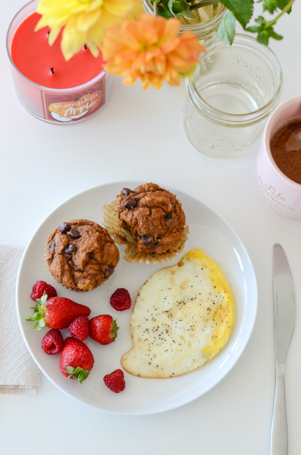 You won't believe these delicious muffins are healthy! Yes, Healthy Pumpkin Chocolate Chip Muffins. I have them on repeat for breakfast and dessert! This clean eating recipe is made with whole grain flour and is naturally vegan (though standard baking alternates are included) #recipe #healthy #healthyrecipes #healthyfood #cleaneating #recipe #realfood #vegan #veganrecipe