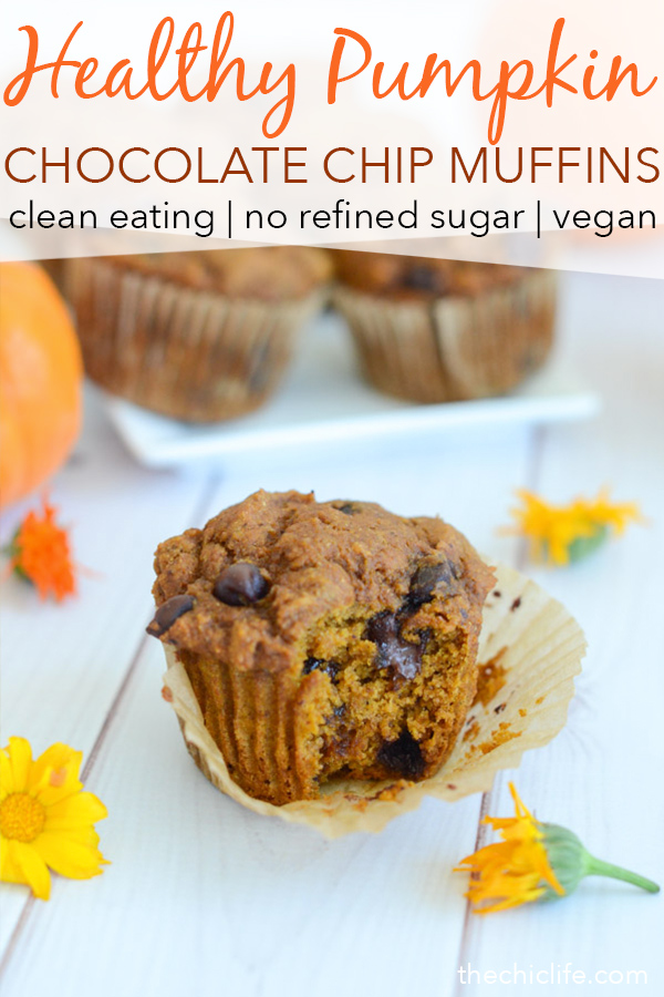 You won't believe these delicious muffins are healthy! Yes, a Healthy Pumpkin Chocolate Chip Muffins recipe. I have them on repeat for breakfast and dessert! This clean eating recipe is made with whole grain flour and is naturally vegan (though standard baking alternates are included) #recipe #healthy #healthyrecipes #healthyfood #cleaneating #recipe #realfood #vegan #veganrecipe