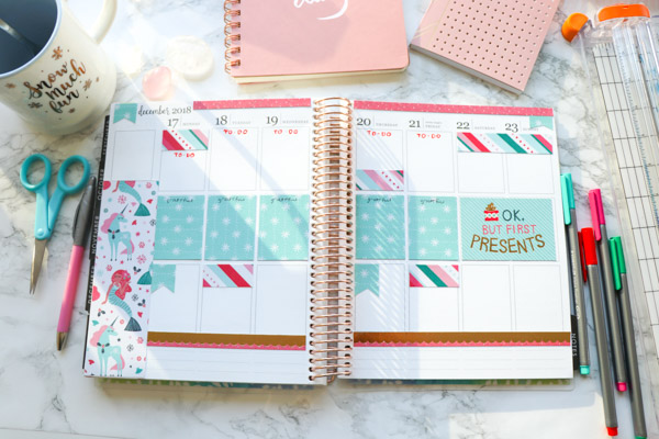 Click to see how I decorate my planner without using any stickers or washi tape (no Etsy!) | Plan with Me: Christmas No Washi Tape, No Stickers | Erin Condren 2018 #erincondren #lifeplanner #planner #planning #erincondren #plannerdecorations #plannerideas