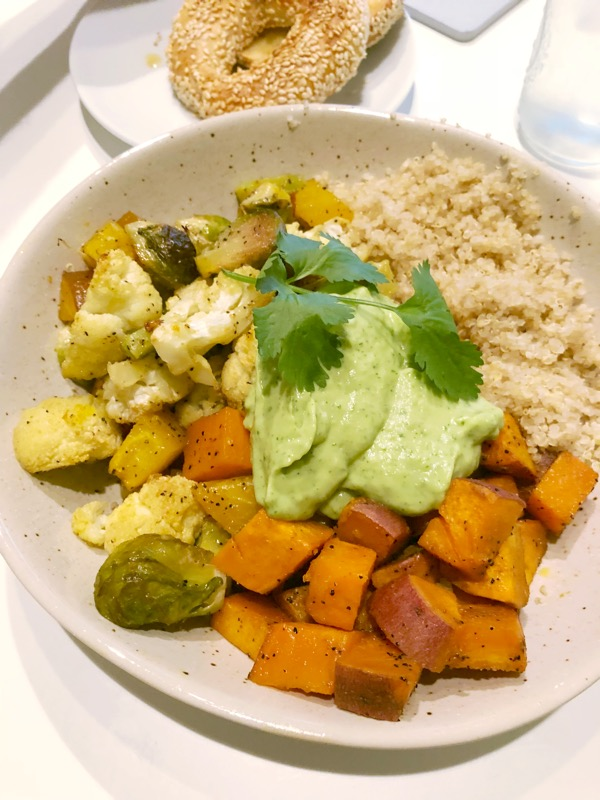 Getting the Whole Foods Plant Based Diet right with dinner - Roasted veggies, quinoa, and avocado sauce