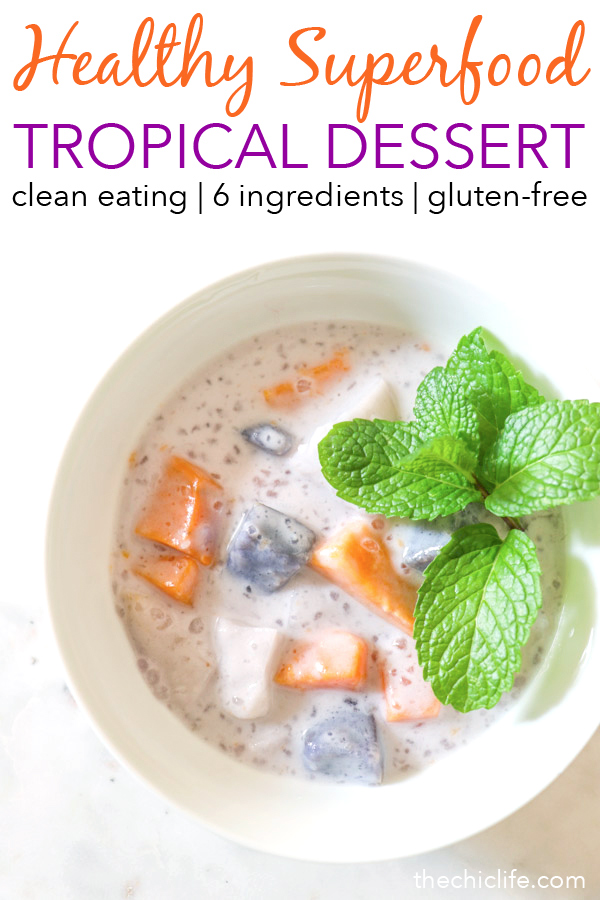 This healthy dessert is a delicious and tropical treat! Superfoods make this a dessert you can feel good about eating. I reduced the sugar amounts from the traditional version of this Ginataang. #recipe #healthy #healthyrecipes #cleaneating #vegan #vegetarian #desserts #dessertfoodrecipes