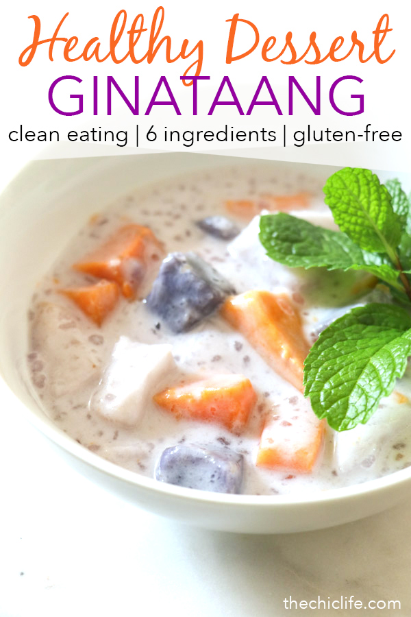 I made this healthy version of Ginataang with reduced sugar amounts so it's still delicious but not overly sweet. Enjoy this tropical treat served warm as an easy snack or dessert. #recipe #healthy #healthyrecipes #cleaneating #vegan #vegetarian #desserts #dessertfoodrecipes