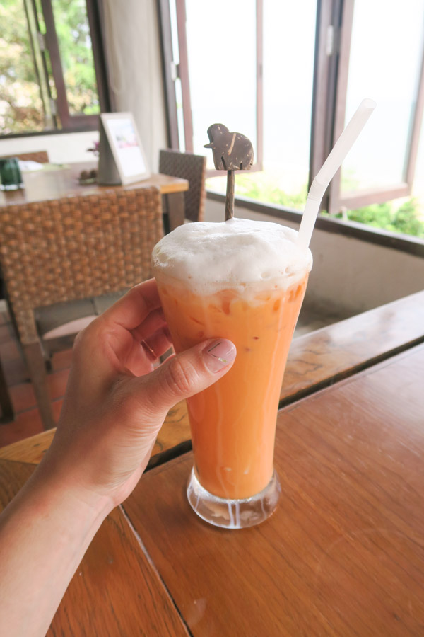 Foamy Thai tea at Aleenta Hua Hin Pranburi