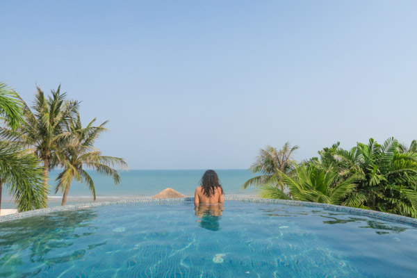 Me inside the infinity pool at Aleenta Hua Hin Pranburi