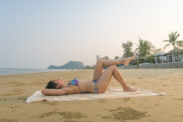 Doing some resting and stretching on the beach behind Aleenta Hua Hin Pranburi