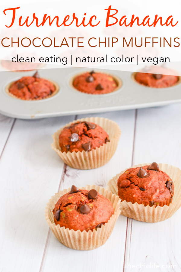 Skip toxic food colors and make this naturally red Turmeric Banana Chocolate Chip Muffins recipe. This clean eating recipe is made with anti-inflammatory ingredients and tastes delicious! #recipe #healthy #healthyrecipes #cleaneating #vegan #vegetarian #breakfast #breakfastfood #valentinesday