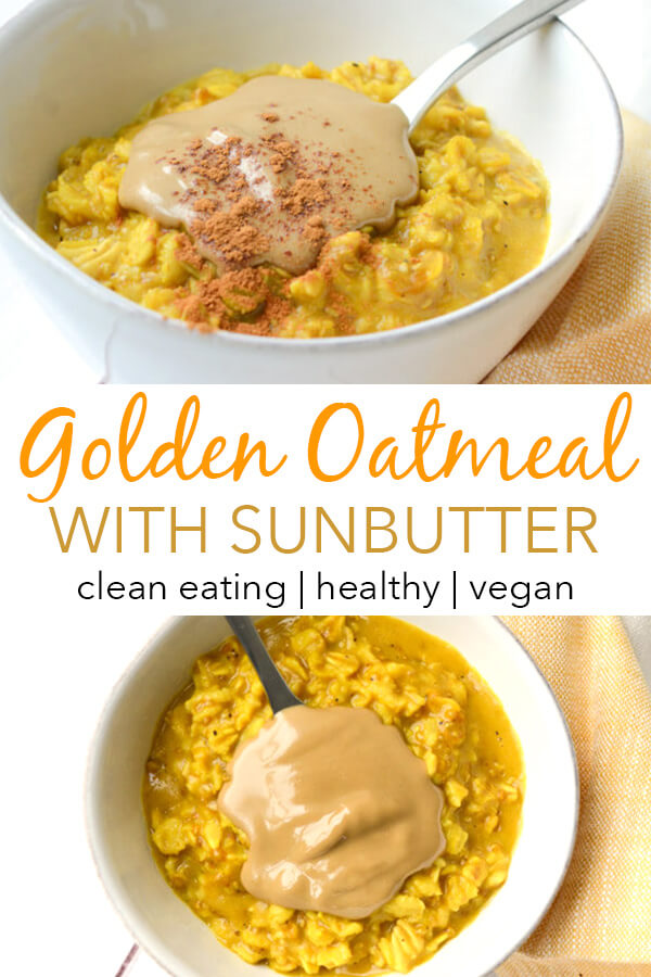 Love turmeric? Try this easy Golden Oatmeal recipe made with anti-inflammatory turmeric and other spices for a fun play on a recently trendy drink. This clean eating breakfast recipe is so good! #recipe #healthy #healthyrecipes #cleaneating #vegan #vegetarian #breakfast #breakfastfood