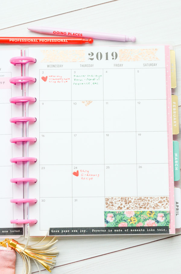 Check out my simple mostly-washi tape decorations in my January 2019 Happy Planner #planner #happyplanner #plannerdecorations #washitape