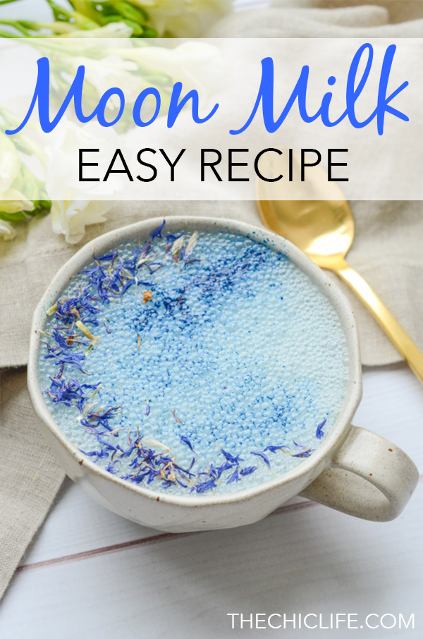 Add this easy Moon Milk recipe to your night time routine to enjoy soothing adaptogen benefits with this plant-based, clean eating drink recipe featuring Blue Majik and Reishi. #recipe #healthy #healthyrecipes #cleaneating #vegan #vegetarian #adaptogen #naturalwellness