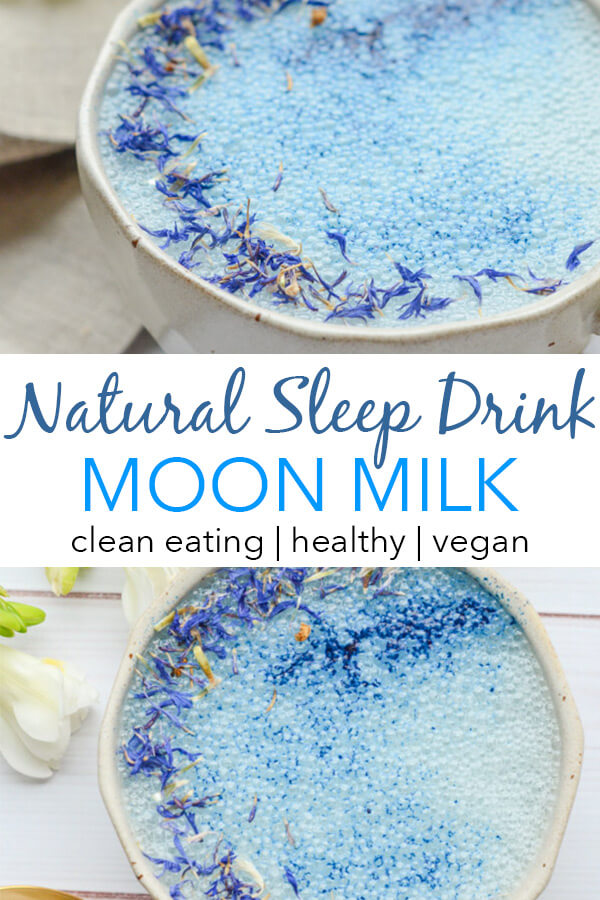 This natural sleep drink may help you out at bedtime. This soothing Goodnight Moon Milk Recipe features Blue Majik and Reishi. Try it with your night routine after a long work day to de-stress and de-compress. #recipe #healthy #healthyrecipes #cleaneating #vegan #vegetarian #adaptogen #naturalwellness