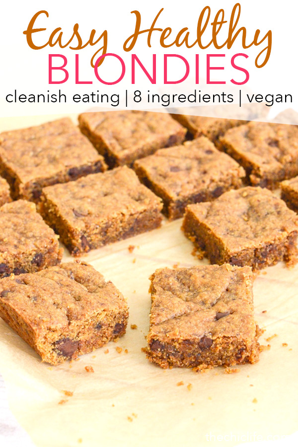 This easy Healthy Blondies recipe is a delicious cleanish eating dessert recipe boosted with whole grains, less processed sugar (and less of it!), plus flaxseed. It's a vegan recipe too! #recipe #healthy #healthyrecipes #cleaneating #vegan #vegetarian #desserts #dessertfoodrecipes