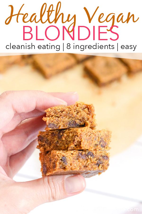 This easy Healthy Vegan Blondies recipe is made with whole grains and reduced sugar amounts for a much healthier dessert option over traditional blondies. #recipe #healthy #healthyrecipes #cleaneating #vegan #vegetarian #desserts #dessertfoodrecipes