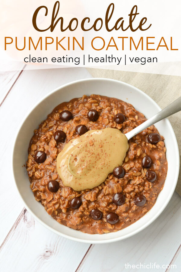 Who wants a healthy chocolate breakfast?! This Healthy Chocolate Pumpkin Oatmeal Recipe with Sunbutter is a simple clean eating recipe made with pantry ingredients, like leftover canned pumpkin, so you can sneak some veggies into breakfast! #recipe #healthy #healthyrecipes #cleaneating #vegan #vegetarian #breakfast #breakfastfood