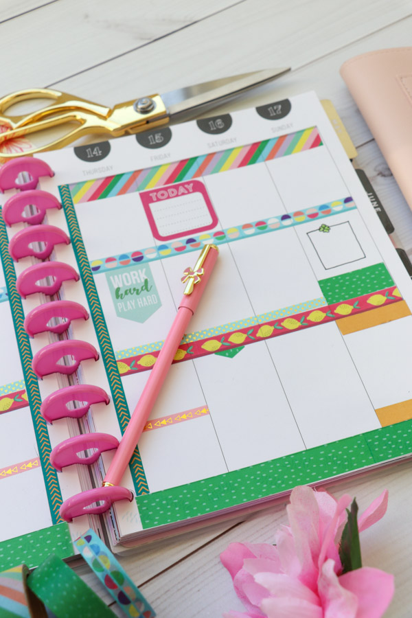 Here are TWO ways to use ONE set of washi tape in your planner layouts. One is in my Erin Condren LifePlanner and one in my Happy planner. These are easy decoration ideas that are also super affordable and fun! March 2019 #planner #planning #plannerdecorations #plannerideas #happyplanner #erincondren #plannerlayout
