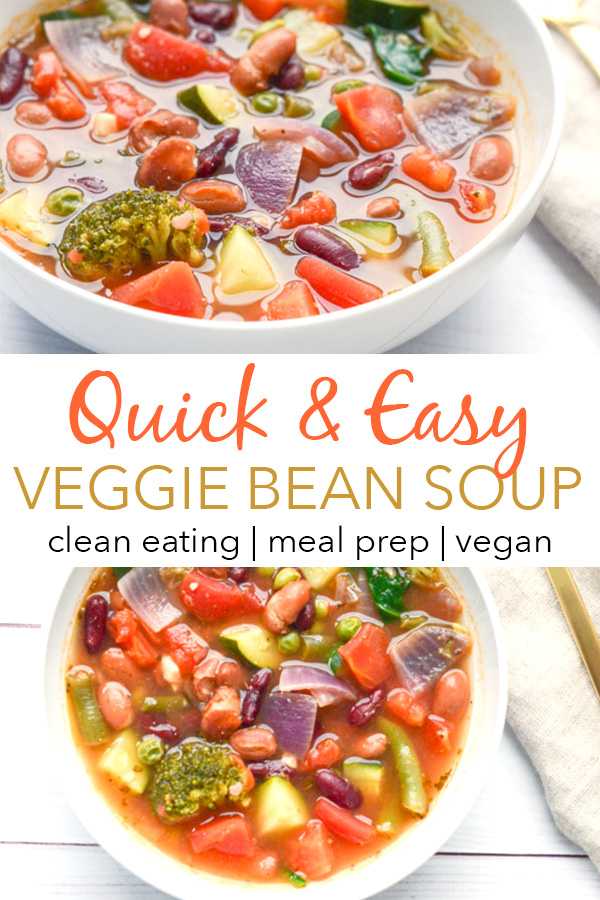 This Quick Veggie Bean Soup Recipe is an easy dinner recipe for clean eating foodies. Plus you get simple and tasty leftovers for lunch or school! Great to warm you up on a cold winter night #recipe #healthy #healthyrecipes #healthyfood #cleaneating #dinner #dinnerrecipes #vegan #vegetarian