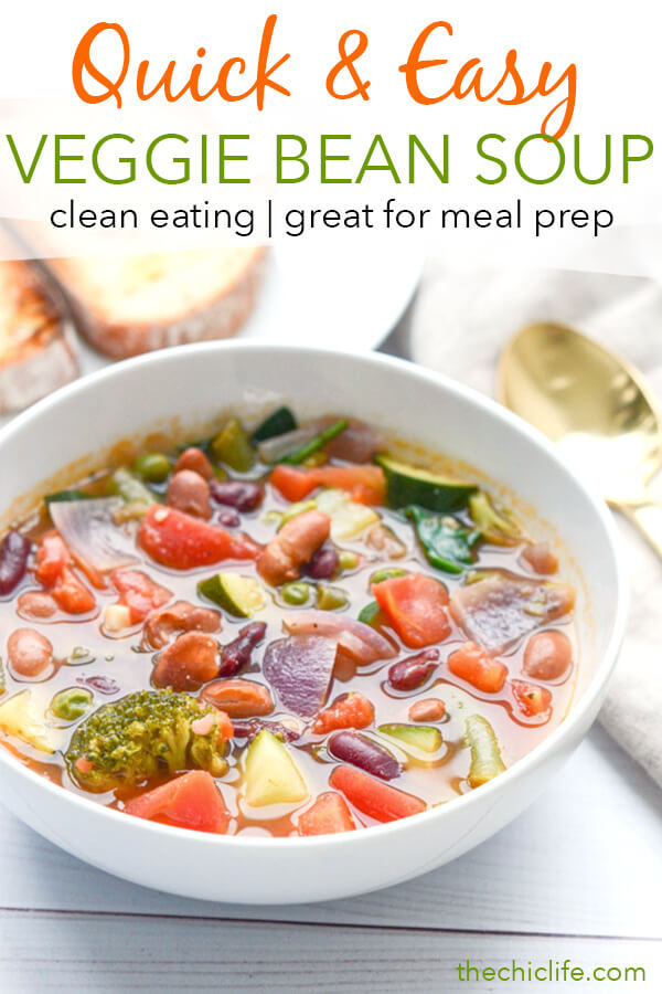 This easy and delicious clean eating soup recipe is wonderful for weight loss and/or maintenance. Try this Quick Veggie Bean Soup Recipe for an easy dinner with simple and tasty leftovers for lunch or school! #recipe #healthy #healthyrecipes #healthyfood #cleaneating #dinner #dinnerrecipes #vegan #vegetarian