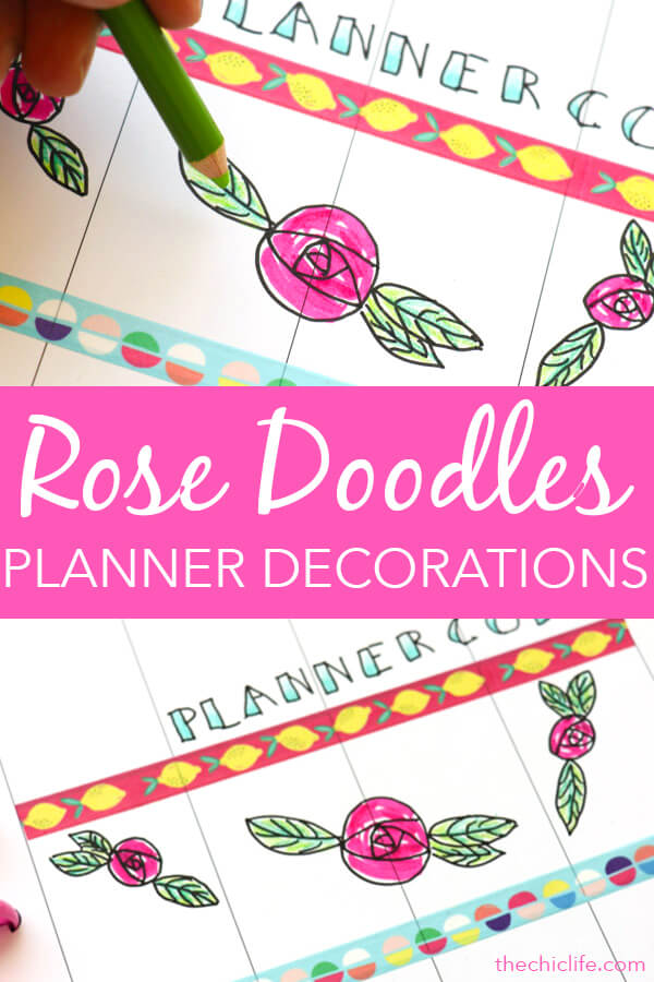 Add these rose doodles to your planner for some pretty and easy planner decorations. These are drawn with ink pen, filled in with marker and colored pencil. Click for details. #planner #planning #plannerdecorations #plannerideas #happyplanner #doodles