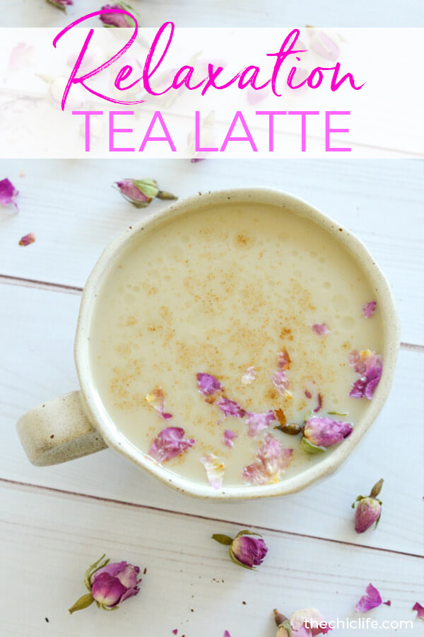Relaxation in a cup. This delicious Tulsi Tea CBD latte is so good! Plus it's an easy clean eating drink recipe that has vegan options, is dairy free, and is made with no refined sugar. #recipe #healthy #healthyrecipes #cleaneating #vegan #vegetarian #cbd #naturalwellness #holistichealth