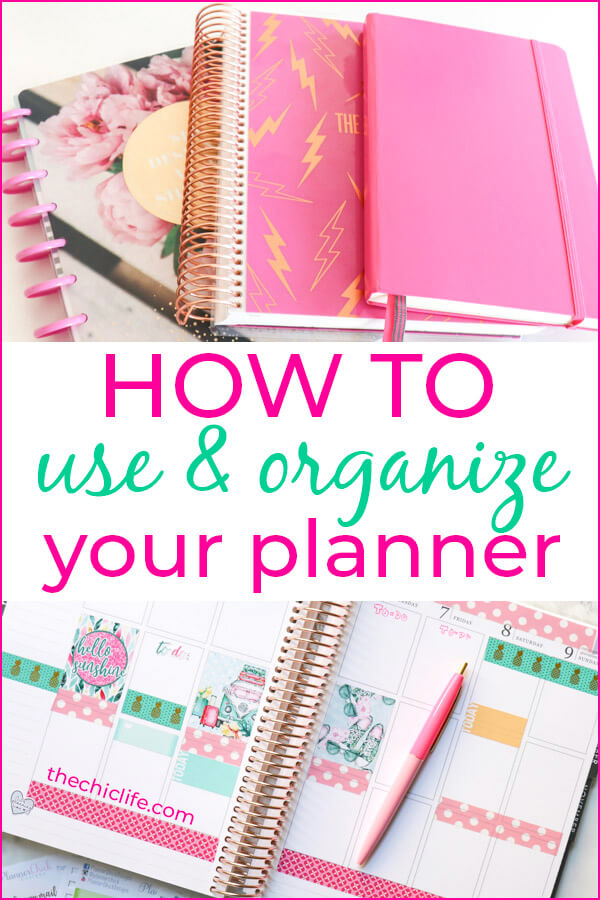 Learn How to Use and Organize Your Planner in style! Easy tips for all levels. Get organized the fun way. Ideas for every planner, from Erin Condren LifePlanners to Bullet Journals. #planner #planning #plannerdecorations #plannerideas #happyplanner #erincondren #plannertips