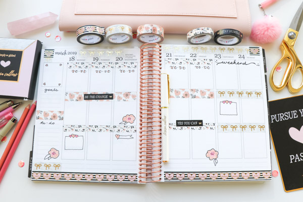 Click for this Plan with Me Simply Gilded x Teresa Collins Collab Washi Tape Only video for easy planner decoration ideas and inspo | March 2019 #planner #planning #plannerdecorations #plannerideas #happyplanner #erincondren #plannertips