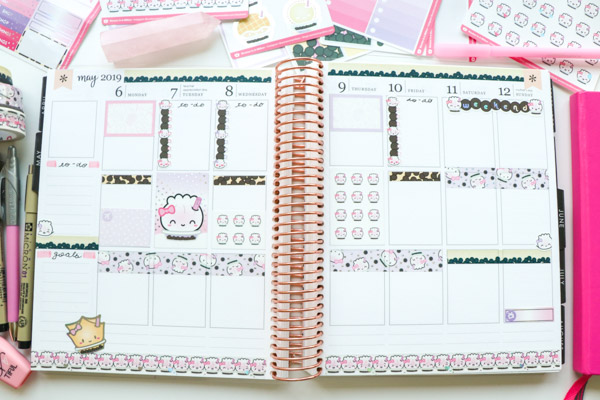 Click for this Plan with Me with a FUN boba tea theme using Wonton In A Million stickers and washi tape. These easy planner decorations are so cute! | May 2019 #planner #planning #plannerdecorations #plannerideas #lifeplanner #erincondren #plannertips #planwithme