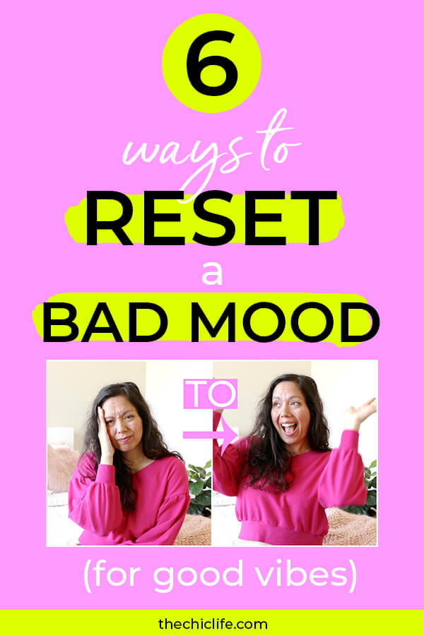 6 Quick, Easy, and (Mostly) Free ways to reset a bad mood. Check out this video to get to good vibes fast! #selfimprovement #mindset #personalgrowth #personaldevelopment #selfhelp #changeyourlife  #mindset #goodvibes #habits #successhabits #dailyhabits