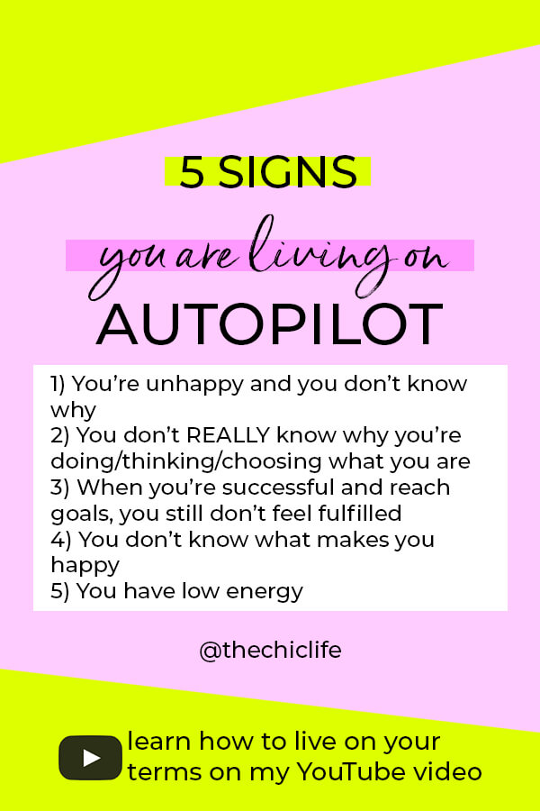 Are you floating through life, just getting by? You may be living on autopilot! Learn 5 signs you're living on autopilot and how to wake up and take your power back #lawofattraction #loa #manifestation #manifest #personalgrowth #personaldevelopment #woowoo #changeyourlife  #goodvibes #successhabits #highvibes #spirituality #theuniverse