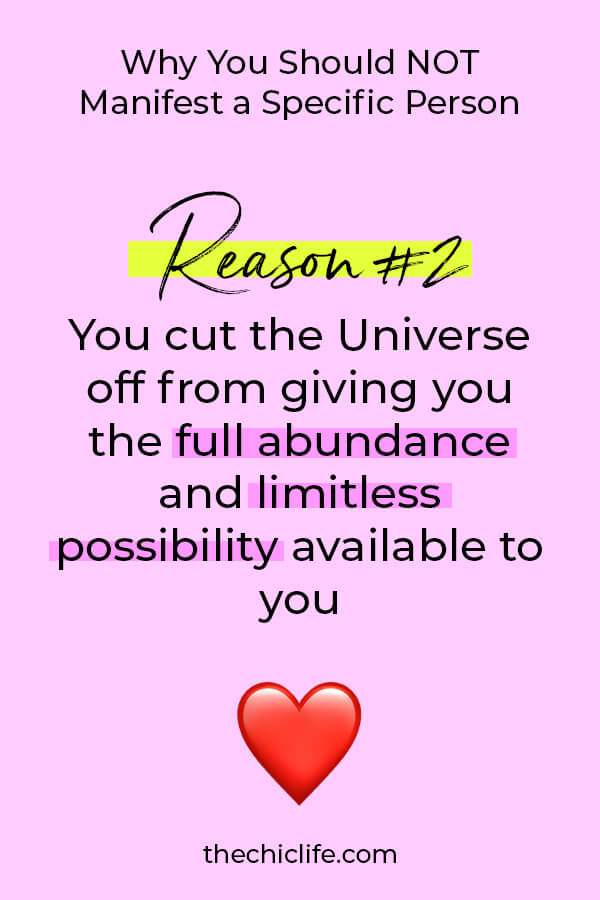Here's one reason you should NOT manifest a specific person. Check out my post and video for reason number 1! Plus, what if you could manifest EVERYTHING you want to attract LOVE? #lawofattraction #loa #manifestation #manifest #personalgrowth #personaldevelopment #woowoo #changeyourlife #goodvibes #manifestlove #highvibes #spirituality #theuniverse