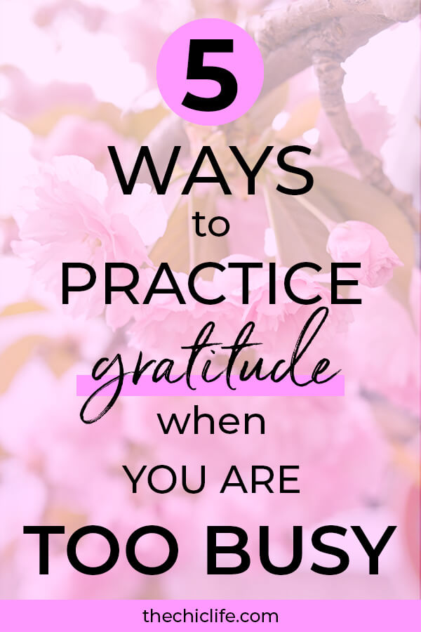 Think you're too busy to practice gratitude? Think again! Here are 5 quick and easy ways to do it so you can enjoy the high vibe goodness from gratitude #lawofattraction #loa #manifestation #manifest #personalgrowth #personaldevelopment #woowoo #changeyourlife  #goodvibes #highvibes #spirituality #theuniverse